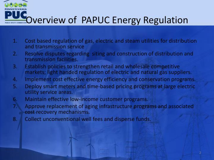 Overview of papuc energy regulation