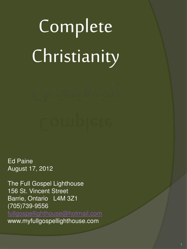 complete christianity n.