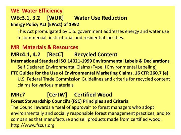 WE  Water Efficiency