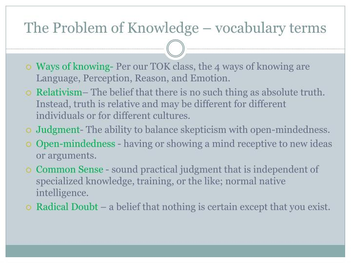the problem of knowledge vocabulary terms n.