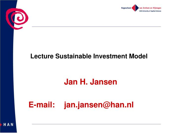 Lecture sustainable investment model