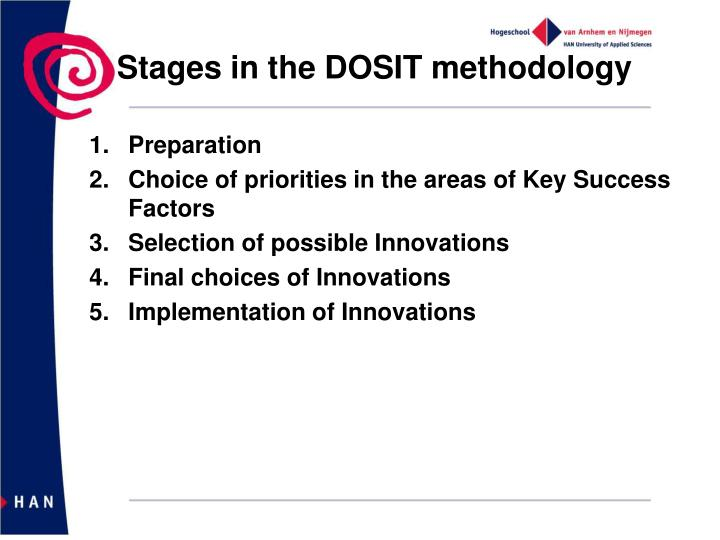 Stages in the DOSIT methodology