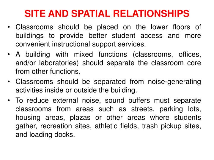 SITE AND SPATIAL RELATIONSHIPS