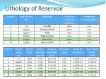 lithology of reservoir