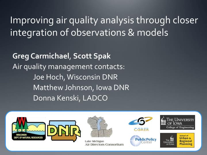 Improving air quality analysis through closer integration of observations models
