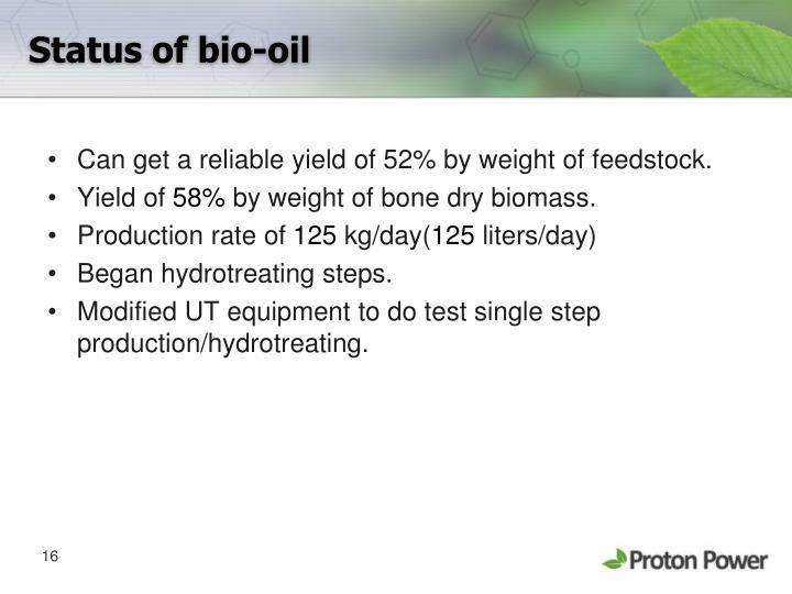 Status of bio-oil