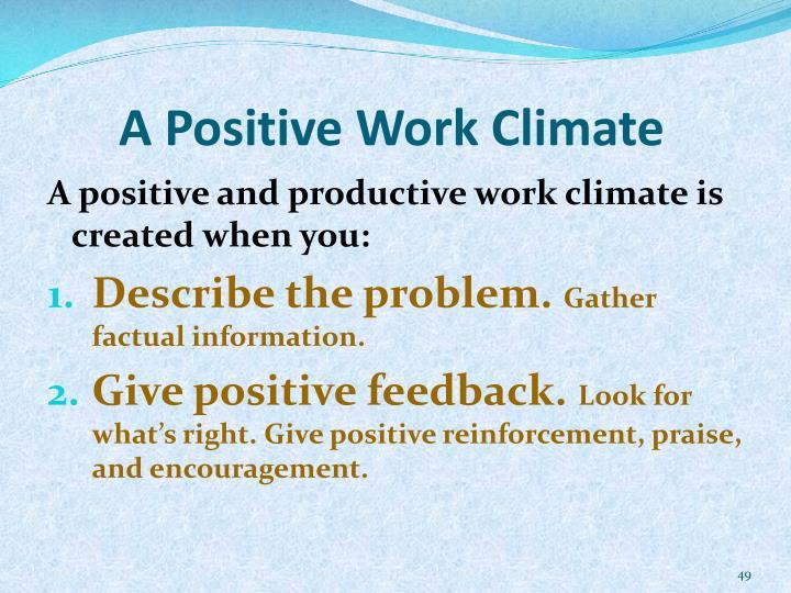 A Positive Work Climate