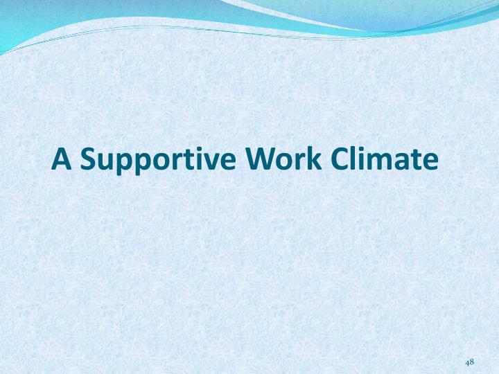 A Supportive Work Climate