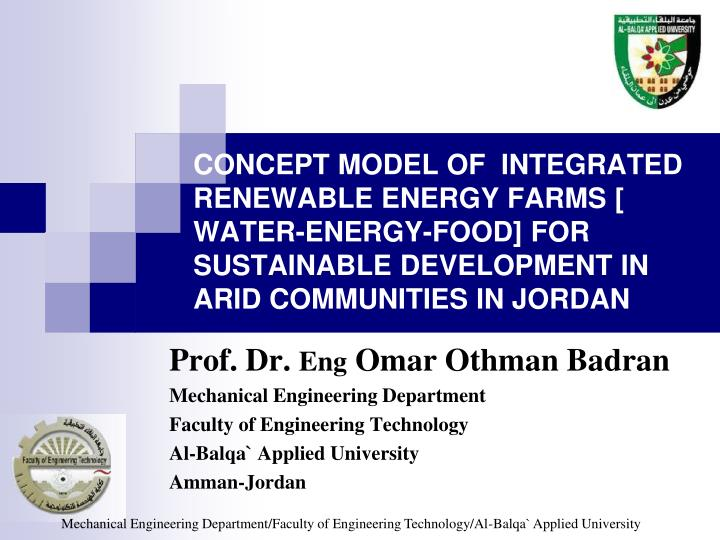 CONCEPT MODEL OF  INTEGRATED RENEWABLE ENERGY FARMS
