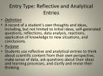 entry type reflective and analytical entries