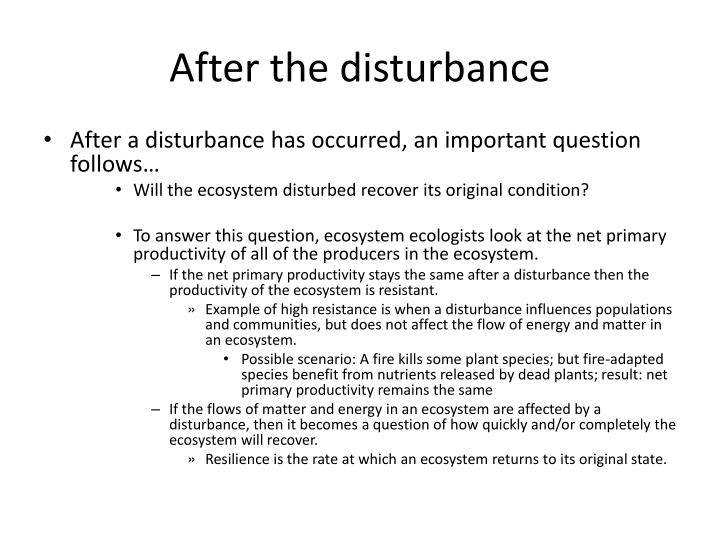 After the disturbance