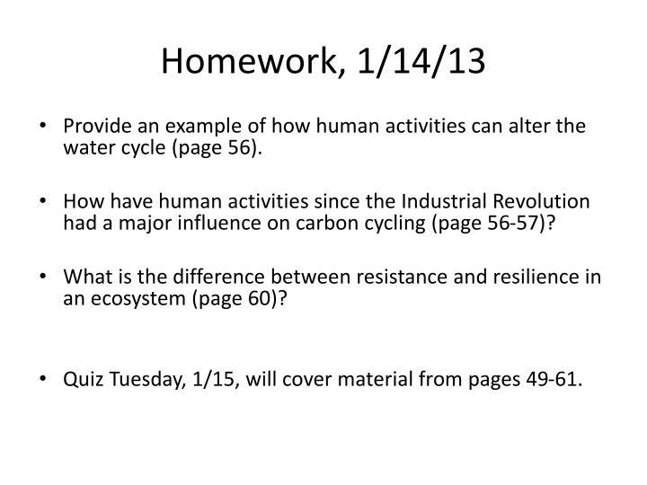 Homework, 1/14/13