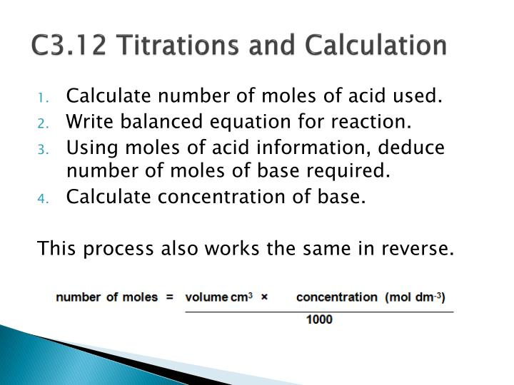 C3.12 Titrations and Calculation