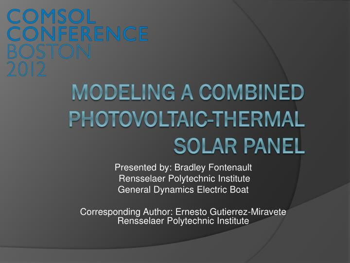 modeling a combined photovoltaic thermal solar panel n.