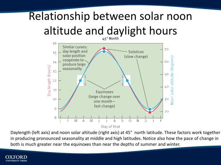 Relationship between solar noon altitude and daylight hours