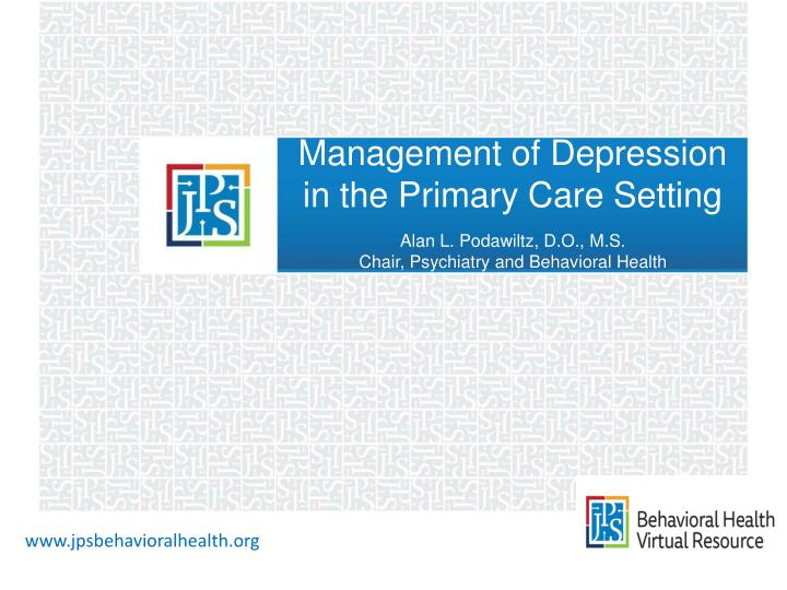 management of depression in the primary care setting n.