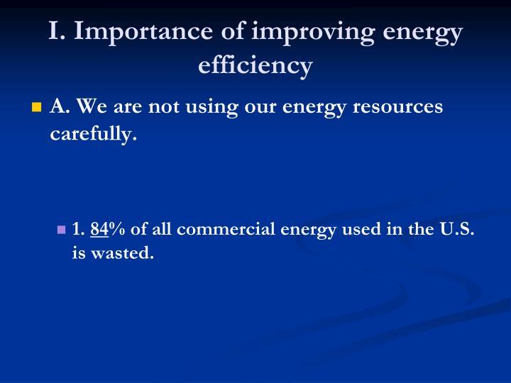 I importance of improving energy efficiency