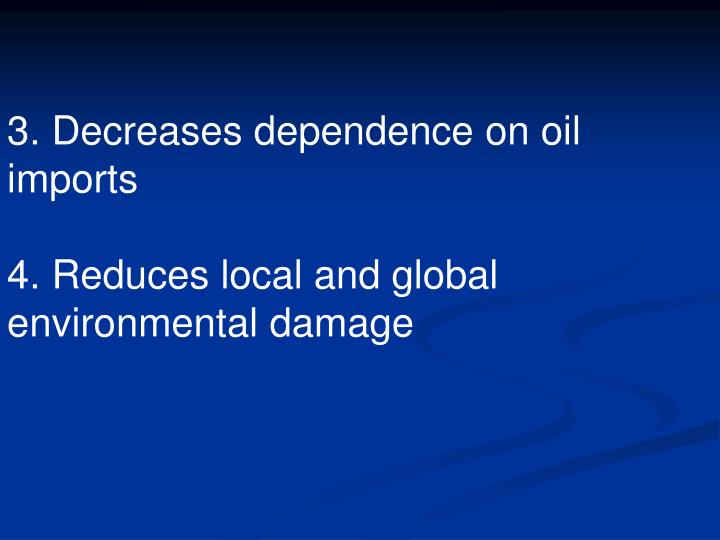 3. Decreases dependence on oil imports