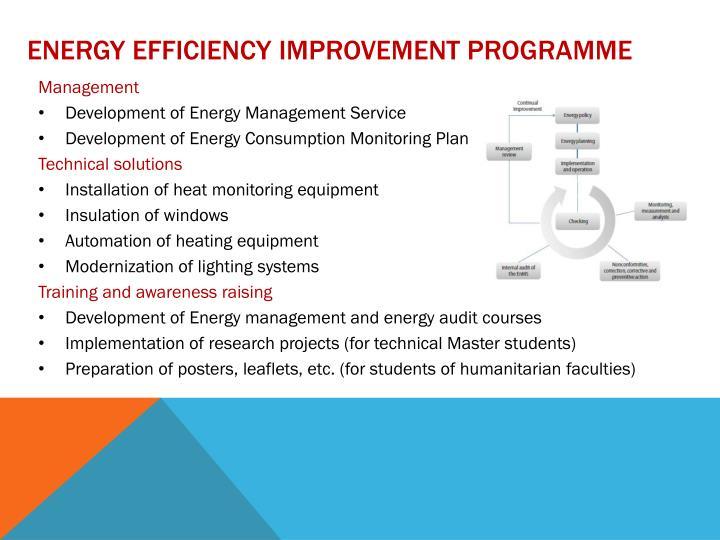 Energy efficiency improvement programme