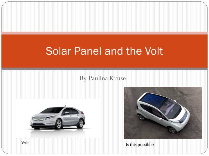 solar panel and the volt n.