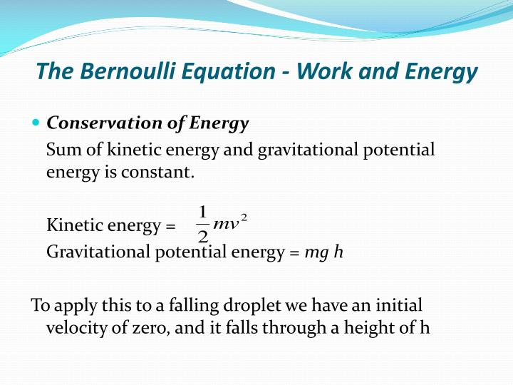 the bernoulli equation work and energy n.