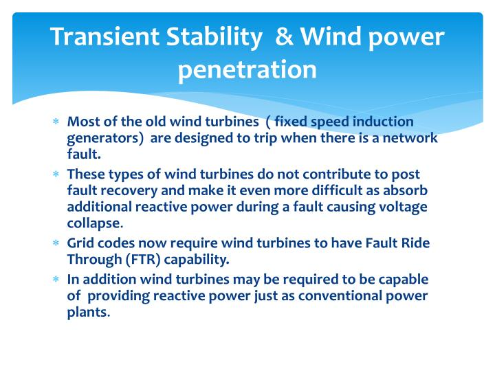 Transient Stability  & Wind power penetration