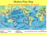 modern plate map active tectonic boundaries are in red
