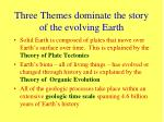 three themes dominate the story of the evolving earth