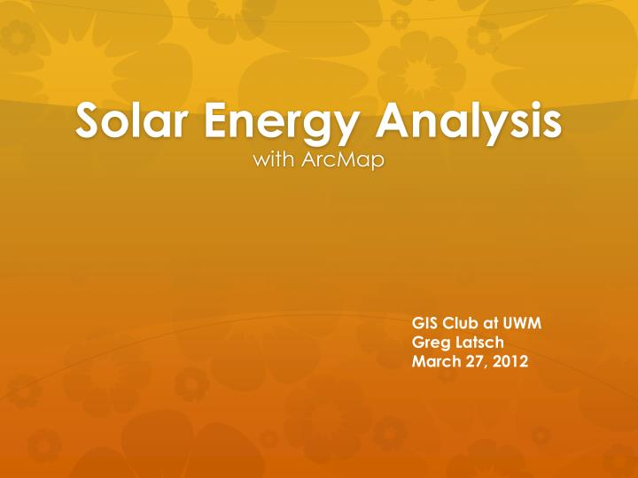 solar energy analysis n.