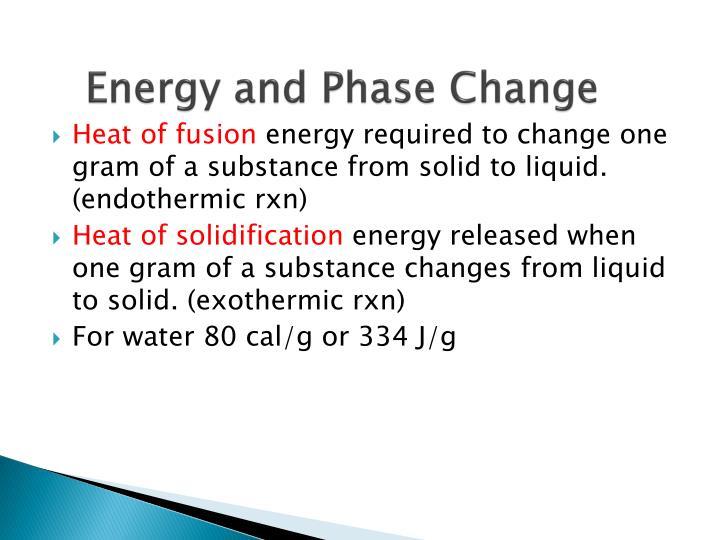Energy and Phase Change
