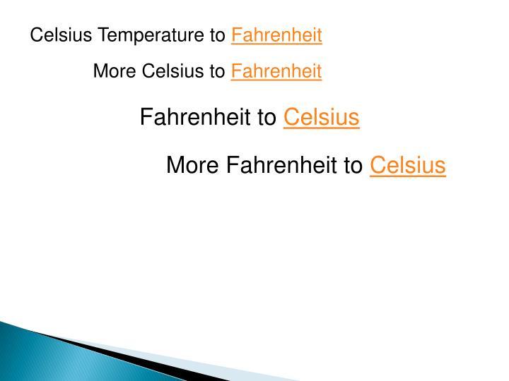 Celsius Temperature to