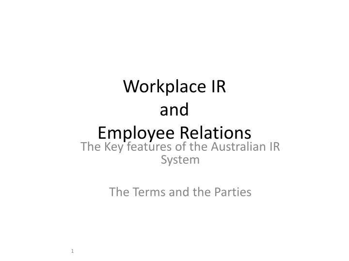 workplace ir and employee relations n.