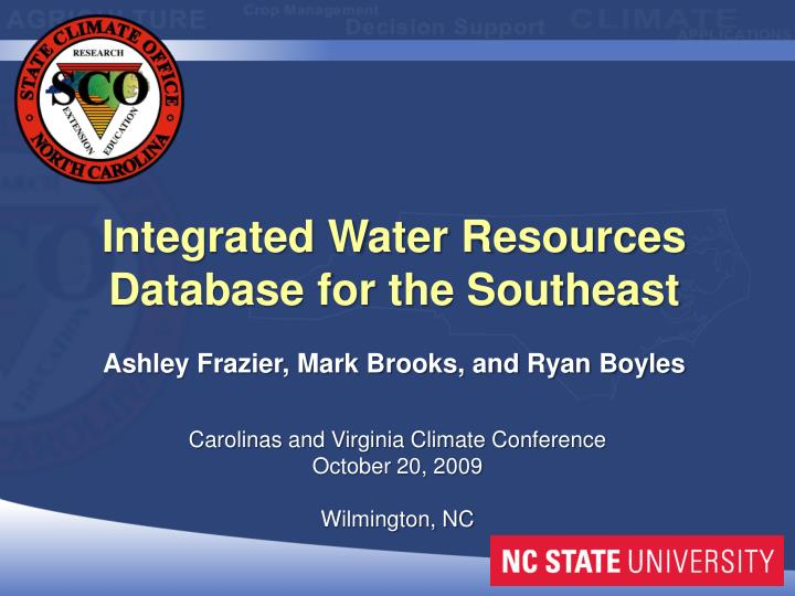 Integrated Water Resources Database for the Southeast