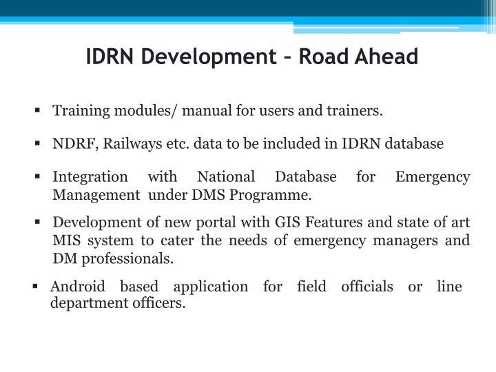 IDRN Development – Road Ahead