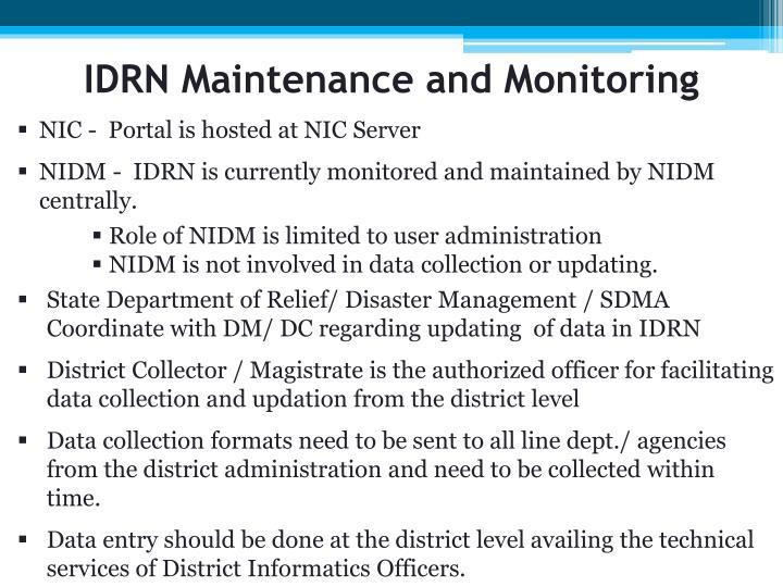 IDRN Maintenance and Monitoring