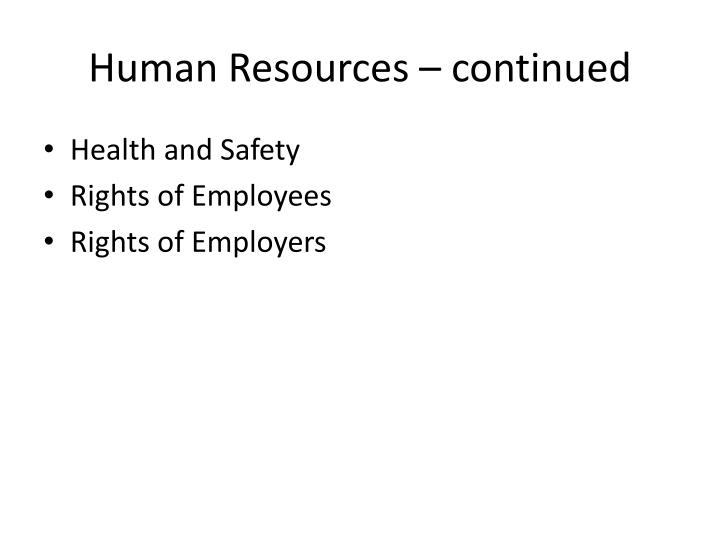 human resources continued n.