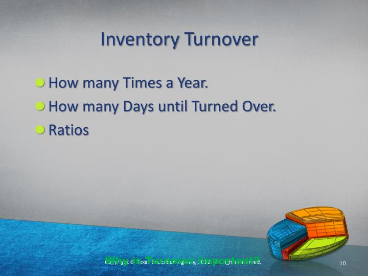 the concept of inventory turnover Definition of inventory: a company's merchandise, raw materials, and finished and unfinished products which have not yet been sold these are considered.
