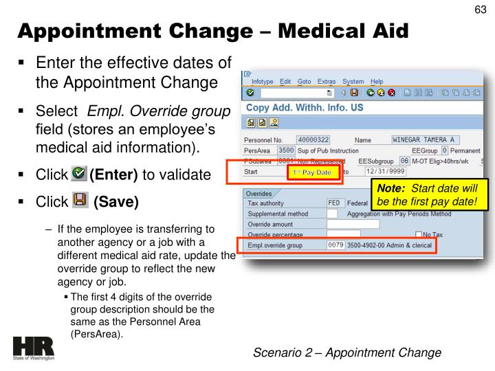 Appointment Change – Medical Aid