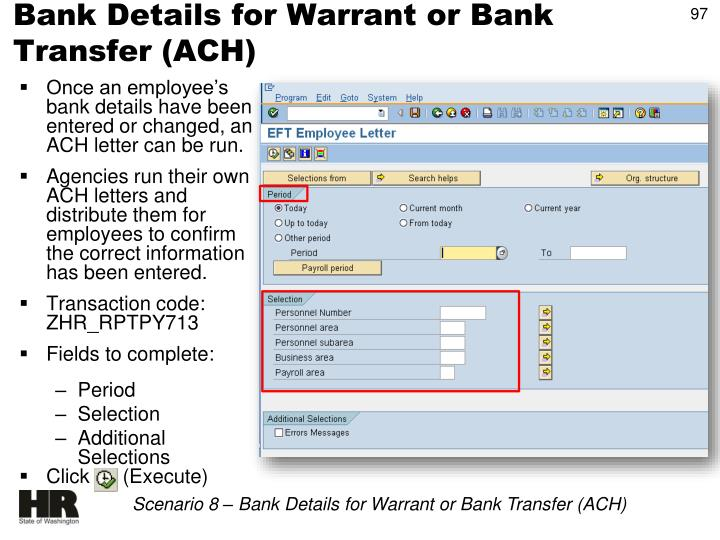 Bank Details for Warrant or Bank Transfer (ACH)