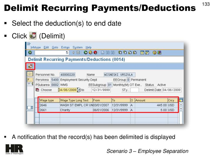 Delimit Recurring Payments/Deductions