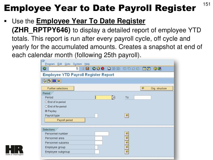Employee Year to Date Payroll Register