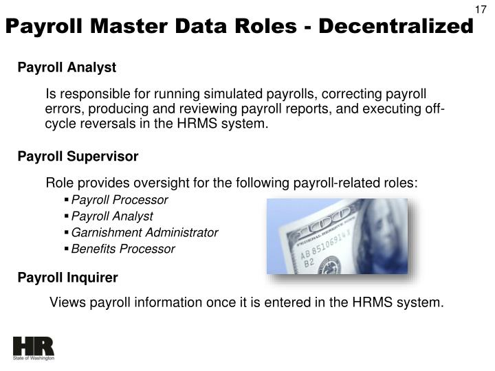Payroll Master Data Roles - Decentralized