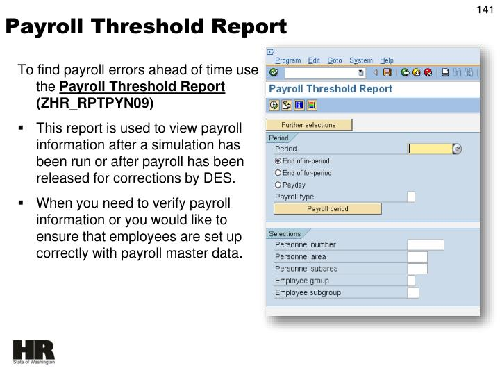 Payroll Threshold Report