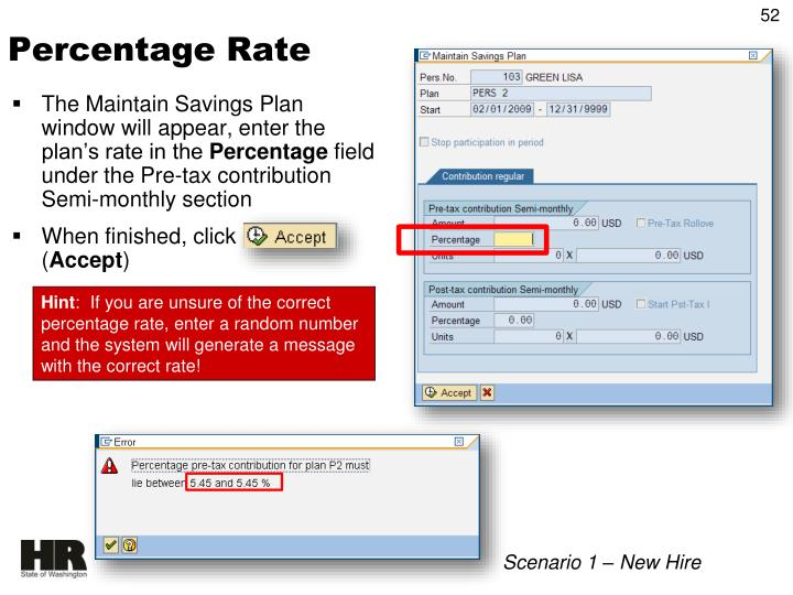 The Maintain Savings Plan window will appear, enter the plan's rate in the