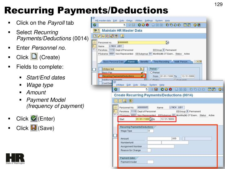 Recurring Payments/Deductions