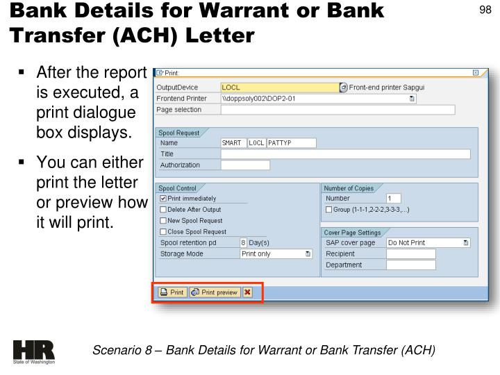 Bank Details for Warrant or Bank Transfer (ACH) Letter
