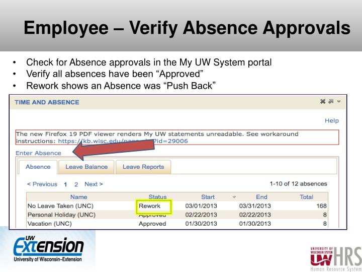 Employee – Verify Absence Approvals