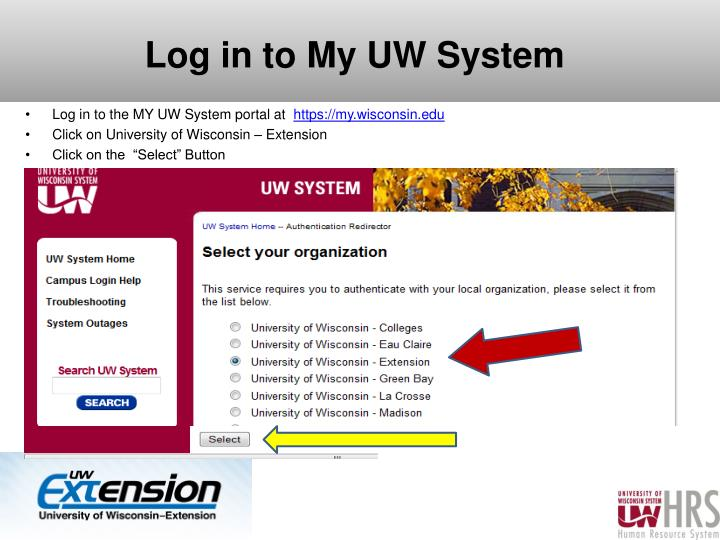 Log in to My UW System
