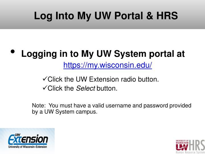 Log Into My UW Portal & HRS