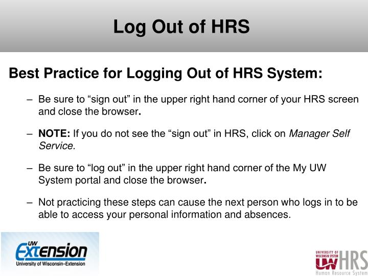 Log Out of HRS